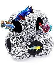 MUNLIT Stackable Aquarium Decoration Rock Caves, Fish Tank Accessories Cave Hideout, Hideaway for Shrimp Cichlid Cave Hiding Breeding Spawning, Betta Fish Hideout