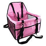 OAKZIP Upgrade Pet Car Booster Seat for Dog Cat Portable and Breathable Bag with Seat Belt Dog Carrier Safety Stable for Travel Look Out,with Clip on Leash and Storage Pockage