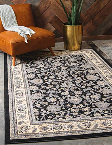 Unique Loom Kashan Collection Traditional Floral Overall Pattern with Border Black Area Rug (5' x 8')