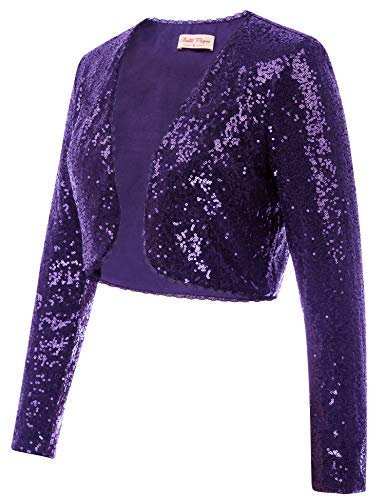 - Belle Poque Women's Shrug 1920s Vintage Jacket Sequin Bolero Giltter Long Sleeve Cover Up for Party (Purple,XL)