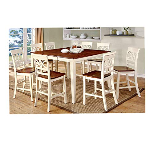 Furniture 9-Piece Country Style Pub Dining Set, Oak/Vintage White Home Office Commerial Heavy Duty Strong - Pub Style Country