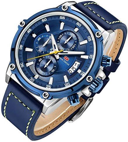 メンズ 腕時計 クォーツ 多機能 ウォッチ シンプル 男性 時計 クロノグラフ 日付表示 夜光 ブルー