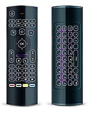 كيبورد وريموت كنترول MX3 برو ماوس من امبوكس، 2.4 جيجاهرتز، كيبورد لاسلكية صغيرة وماوس يعمل بالاشعة تحت الحمراء، للكمبيوتر واندرويد بوكس واجهزة IPTV وHTPC، ونظام تشغيل يندوز وiOS وماك وبلاي ستيشن 3