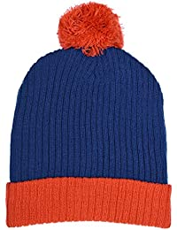 Boys Traditional Knit Hat with Wraparound Cuff and Pom Top 6 Great Colors Combos (B6B1483 Blue Orange)