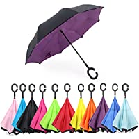 Aweoods Inverted Umbrella Windproof Reverse Folding Double Layer Travel Umbrella with C Shape Handle
