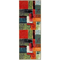 Ottomanson RNB2146-2X6 Rainbow Collection Non-Slip Kitchen Runner Rug, Multicolor, 27 x 72