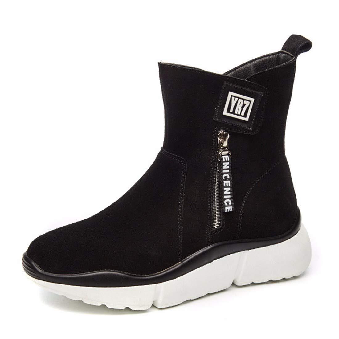 BeatinToes Damen Winter Warm Anti Slip Wasserdicht Naturleder Martin Stiefel Hang Casual Schuhe Reine Farbe Kurze Stiefel