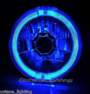"OCTANE LIGHTING 5-3/4"" H5006 H5001 Blue Halo Halogen H4 Bulb Crystal Clear Headlight Angel Eye"