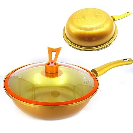 ANIUXIAOGE Oro Casa Woks, Cocina Multifuncional Sartenes ...