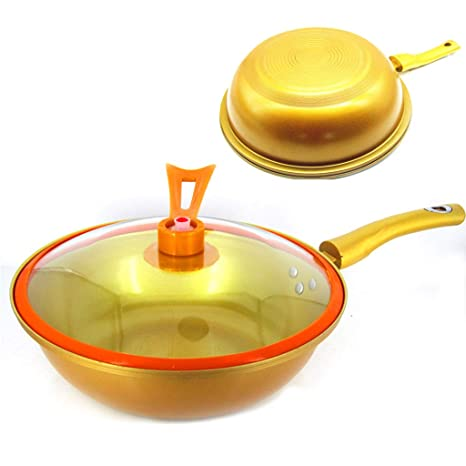 ANIUXIAOGE Oro Casa Woks, Cocina Multifuncional Sartenes antiadherentes, Sin Humos Olla de vacío Pote