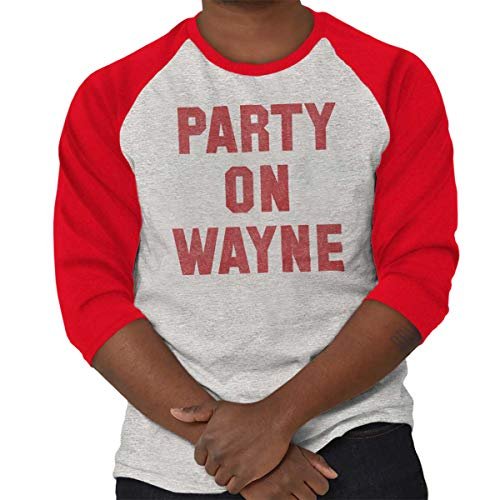 Party On Wayne Garth Funny Comedy Sketch 3/4 Sleeve T-Shirt Sport Grey - Red