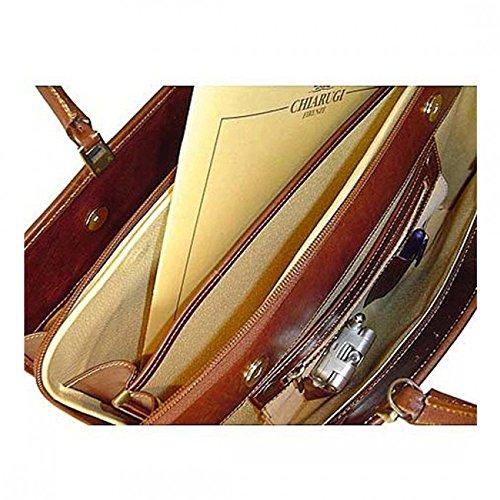 Chiarugi italienische Damen Aktentasche aus Leder Tasche - braun