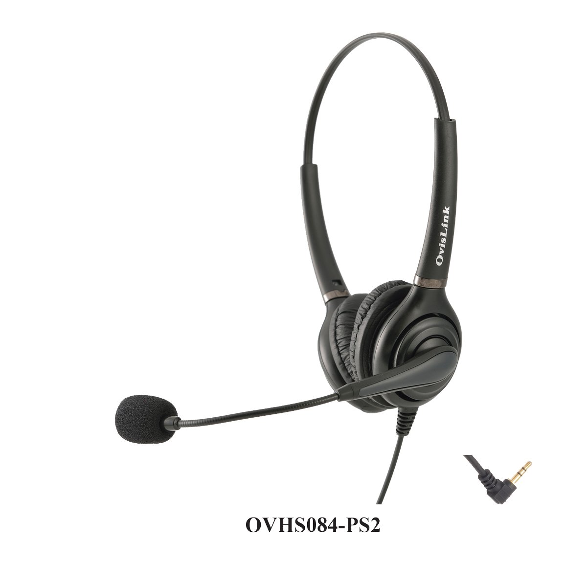 OvisLink Dual Ear Call Center Headset for Polycom SoundPoint IP Phones with 2.5mm Headset Jack