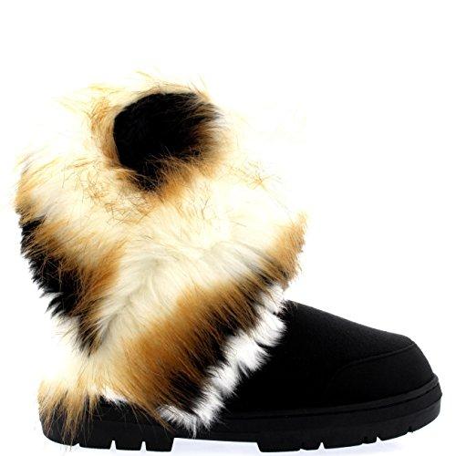 Mujer Conejo Borla Corta Forrada De Piel Invierno Nieve Lluvia Botas Negro