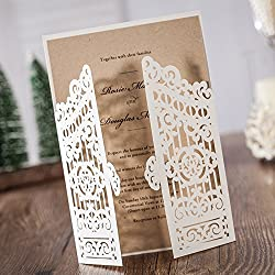 PONATIA 20PCS Laser Cut Hollow Open Door Design with Kraft Insert For Wedding Bridal Shower Invitation Baby Shower Engagement Birthday Graduation Invitation Cards(White)