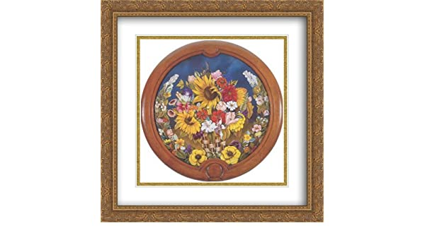 2d35ebf0725b Amazon.com  Basket of Flowers 2X Matted 28x28 Large Gold Ornate Framed Art  Print by Frida Kahlo  Posters   Prints