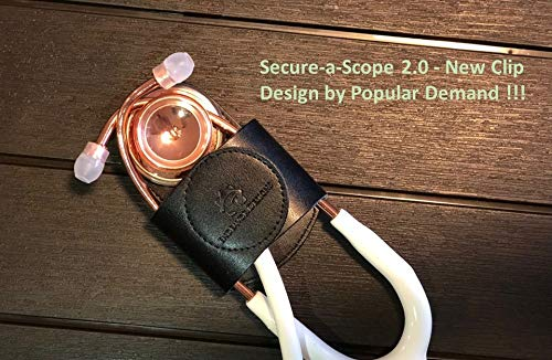 Secure-A-Scope 2.0-100% Black Genuine Leather Stethoscope Holder with Clip for All Models: ADC, MDF, Adscope, Littmann. Perfect for Physicians, Nurses, EMT, Medical Nursing Students.