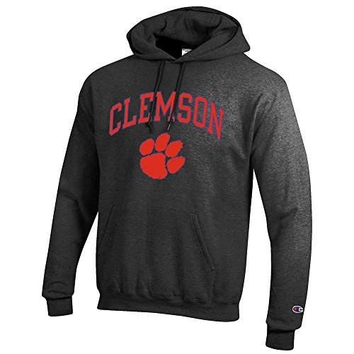 Elite Fan Shop NCAA Clemson Tigers Men's Hoodie Sweatshirt Dark Charcoal Gray, Dark Heather, Medium