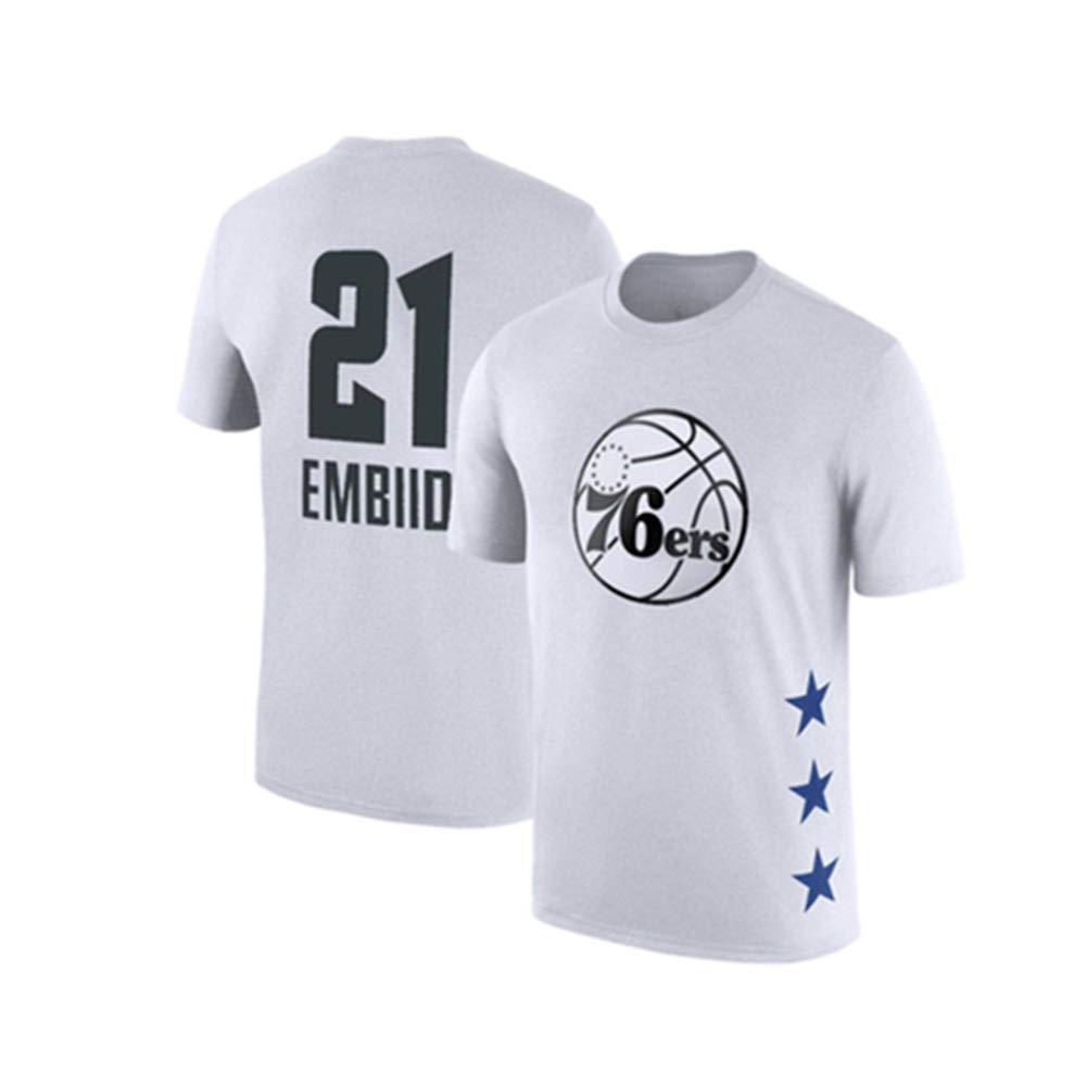 blanc14 XXXL WSX T-Shirt De Basketball NBA All-Star à Manches Courtes, Chemise étudiante, Haut Imprimé, Manches Moitié Supérieure Lakers,blanc5-M