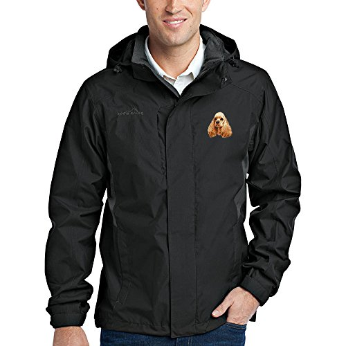(Cherrybrook Dog Breed Embroidered Mens Rain Jackets - X-Large - Black and Steel Gray - Cocker Spaniel)