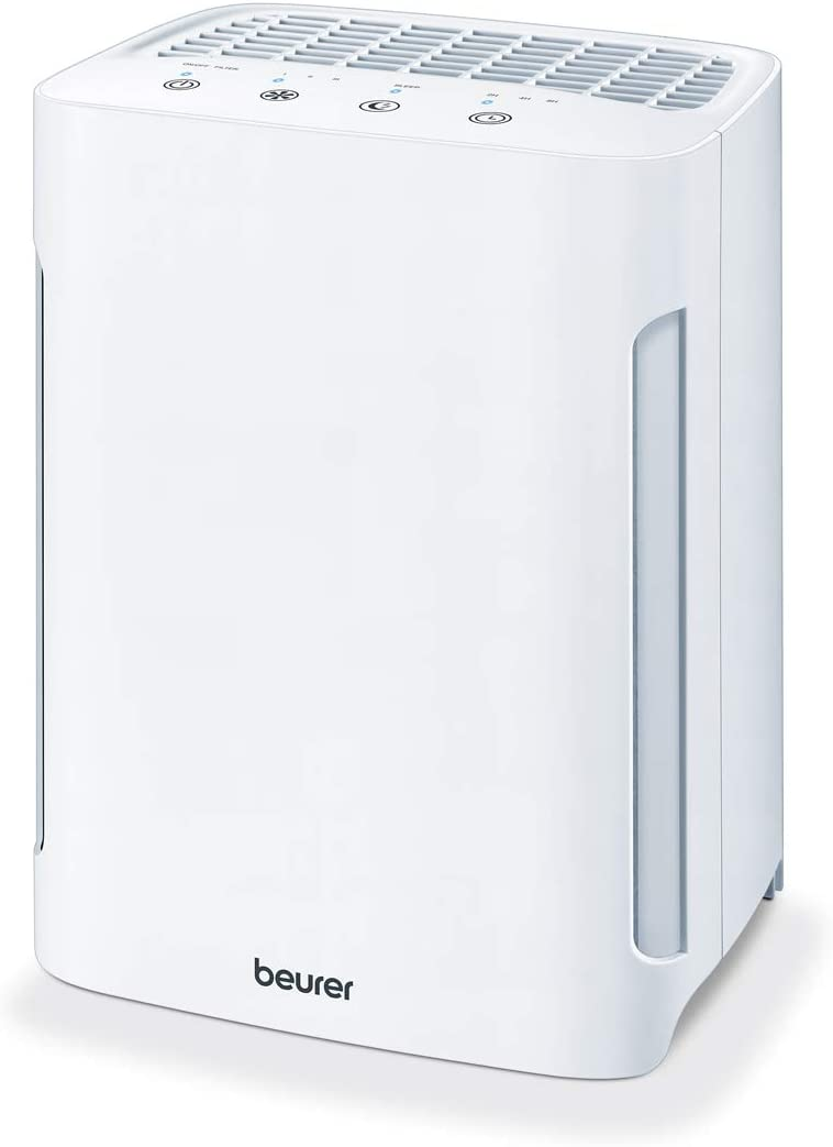 Beurer Air Purifier 3-in-1 H13 HEPA Layer Filter System, 3 Speed Settings, Helps Remove Dust, Animal Hairs, Odors, Pollen, Harmful Gases & More - with Sleep Mode & Timer, LR210, White
