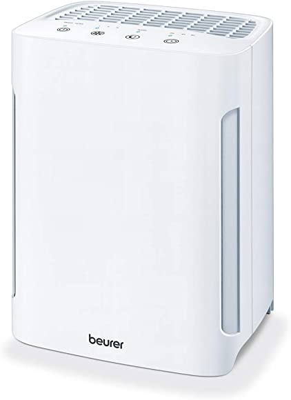 Beurer Air Purifier 3-in-1 EPA Layer Filter System with UV-C, Ionic Function, 3 Speed Settings, Helps Remove Dust, Animal Hairs, Odors, Pollen, Harmful Gases More – with Sleep Mode Timer, LR210