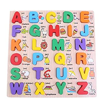 Crazy Crafts Wooden Alphabet English Letters Jigsaw Puzzle Kids Educational (Upper case/ Capital Letters ) Learning Digital Board Educational for Kids Multicolour