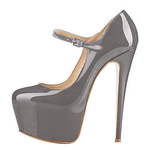 86efa7e0ad5f84 Onlymaker Damenschuhe Stiletto Plateau High Heels Round Toe Kunstleder  Riemchen Pumps Grau EU35