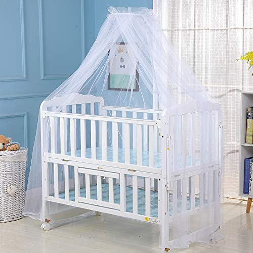 Baby Canopy Insect Protection Quick Easy Installation Hanging Bed Canopy Netting Mosquito Net for Baby Bed White
