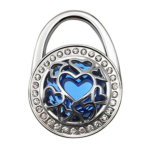JewelBeauty Handbag Hangers Purse Hook Holder Held Storage Lightweight Metal Heart Cut-Out Crystal Bling Diamond Instant Folding Table Bag Hanger for Women Girls (Blue)
