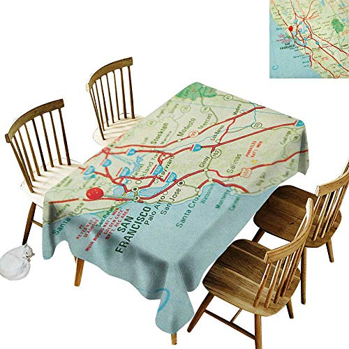 Anti-Wrinkle and Anti-Wrinkle Polyester Long Tablecloth for Weddings/banquets Vintage Map of San Francisco Bay Area with Red Pin City Travel Location W60 x L126 Inch Pale Blue Pale Green Red (Best Wedding Locations Bay Area)