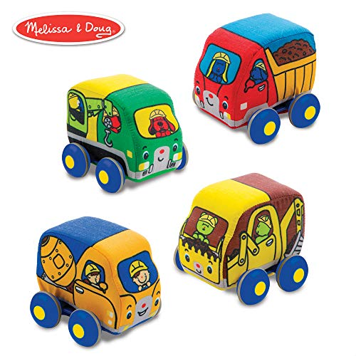 Doug Construction Vehicles - Melissa & Doug Pull-Back Construction Vehicles - Soft Baby Toy Play Set of 4 Vehicles