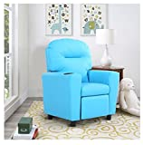 MD Group Children Recliner Sofa Arm Chair Heavy Duty Durable Blue Lightweight PU with Cup Holder