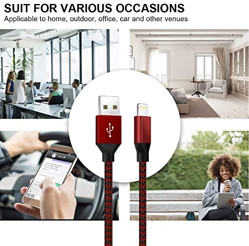 iPhone Charger,YEFOOT MFi Certified Lightning Cable(3/3/6/6/10FT) USB Syncing Data Nylon Braided with Metal Connector Compatible iPhone 11/Pro/Max/X/XS/XR/XS Max/8/Plus/7/7 Plus More-Black&Red