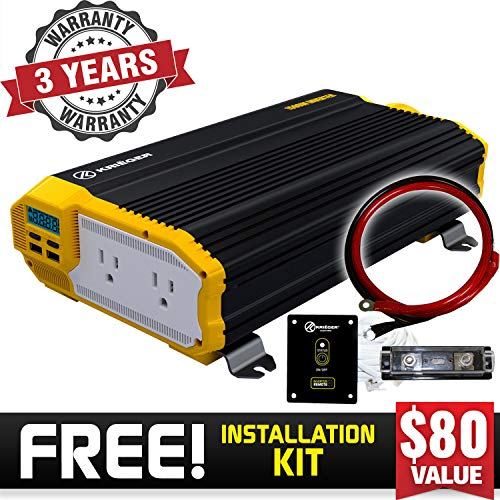 KRIËGER 12V Power Inverter Dual 110V AC outlets, Installaton kit Included, Automotive Back up Power Supply for Blenders, vacuums, Power Tools MET Approved According to UL and CSA (1500 Watt)