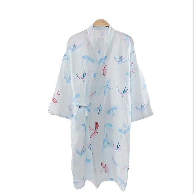 YTFOPLK Fresh Swallow Summer Kimono Bata De Baño para Mujer Gasa Algodón De SPA Sudor Vestido Humeante Pijama Simple Y Elegante, Azul-L: Amazon.es: Ropa y ...