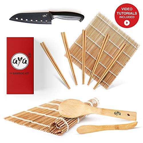 Aya Sushi Making Kit - Original Bamboo Kit withSushi Chef Knife- Online Video Tutorials - 2 Rolling Mats - Paddle & Spreader - 5 Pairs of Chopsticks - 100% Natural Premium Bamboo