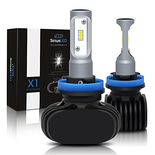 SiriusLED X1 Fan-less Super Bright CSP Chipset LED Headlight Fog Light Bulbs Size H11 H8 H9 White 6000K Conversion Kit