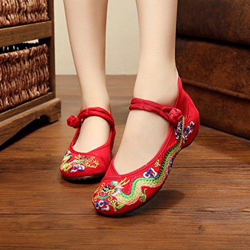 Sneaker NGRDX Frauen Die Stickerei Frauen Damen Der Chinese Schuhe red Frauen dragon Frühling Casual amp;G xrwRn0a4w