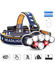 LED Headlamp,MOSFiATA Super Bright 13000 Lumens Rechargeable Headlight,90 Degree Angle Adjustable Led,8 Modes Waterproof Headlight Perfect for Running,Walking,Camping,Reading,Hiking