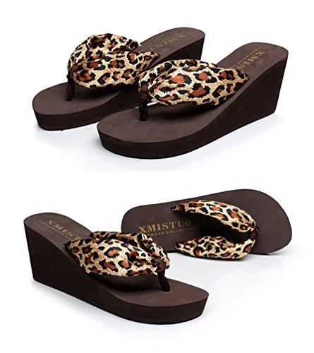 Compensées été Chaussures Femmes Tongs Boho Léopard Sandales plage YOUJIA Satiné de Plateforme Wn7tSWw