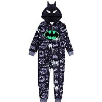 Batman Pijama Entero para Niños, Pijama De Una Pieza Suave Y Acogedor, Onesie Infantil, Diseño Capucha 3D, Brilla En La…