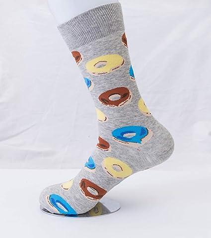 SIKESONG Los Hombres Coloridos Calcetines De Algodón Peinado Patrón Serie Tripulación Ocio Calcetines Calcetines Feliz Vestido