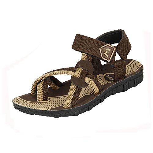 Earton Mens Footwear Brown-215 Canvas Sandals (9 UK)