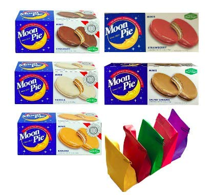 Moon Pie's- Complete Variety Pack - All 5 Flavors! 5 Boxes of Mini's- 1 Salted Caramel - 1 Chocolate - 1 Strawberry - 1 Banana - 1 Vanilla 6 pies per box, 30 pies total! Bonus 5 x Colored Lunch Bags by Online Wholesale Group