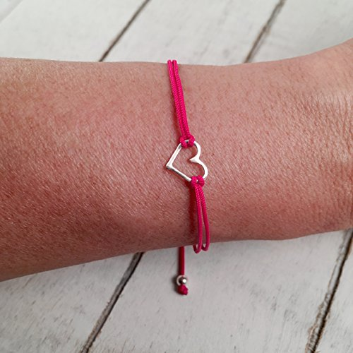 Peru Costumes Women (Sterling Silver 925, Heart Shaped Charm Bracelet with Fuchsia Pink Adjustable Thread Cord, Friendship Bracelet, Handmade in Peru by Claudia Lira. Great for Sets. - READY TO ORDER -)