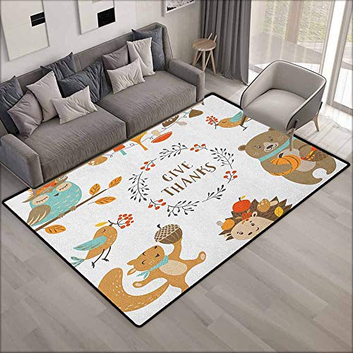 Rectangular Rug,Kids Thanksgiving Giving Thanks Being Grateful Cartoon Animals Grizzly Bear Wild Mushrooms,Extra Large Rug,6'6