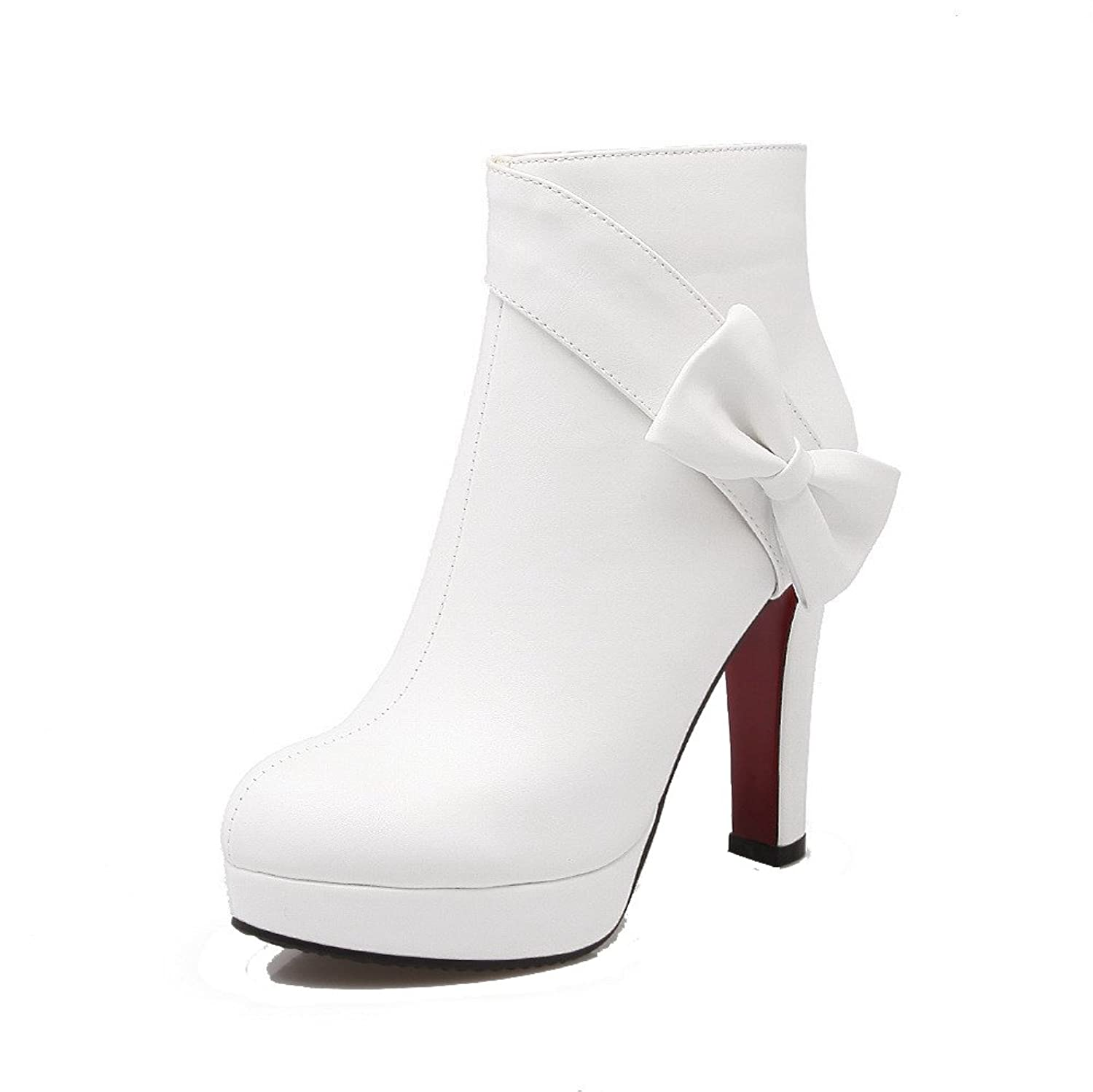 AllhqFashion Women's High-Heels Solid Closed Round Toe Soft Material Zipper Boots