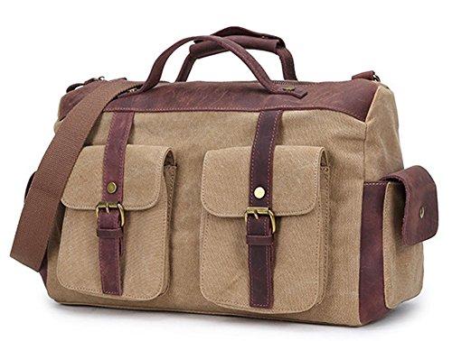 Izacu Flocc-BUG Lona bolso mensajero bolsa para hombre bolso de escuela (47*13*30cm, khaki) khaki