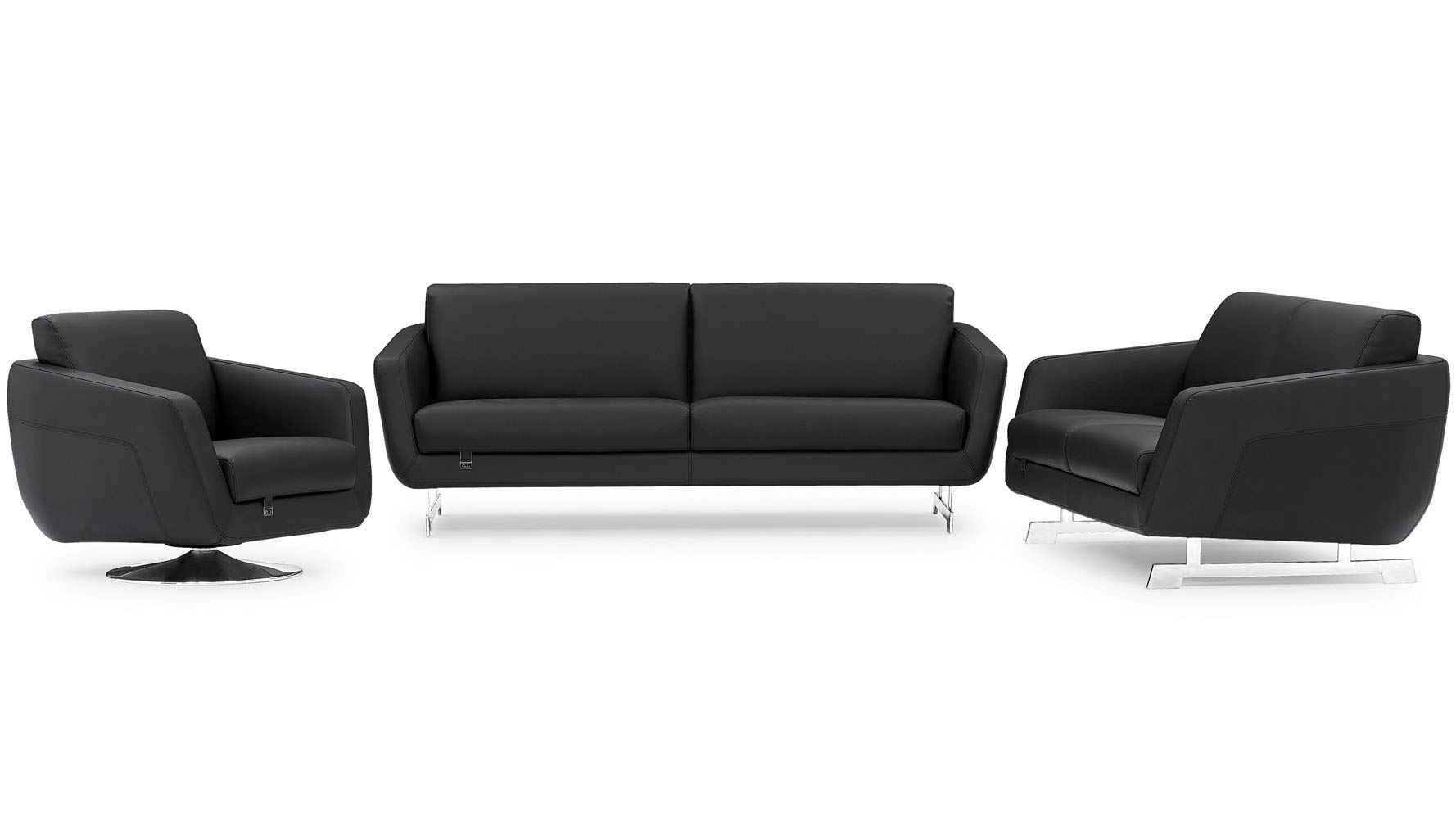 Zuri Furniture Modern Armondo Sofa Set with Loveseat and Chair in Black Microfiber and Genuine Leather by Zuri Furniture